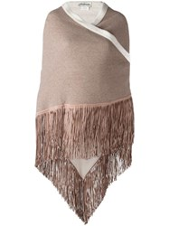 Babjades Reversible Fringed Scarf Nude Neutrals