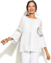 Alfani Petite Crochet Trim Lace Tunic Bright White