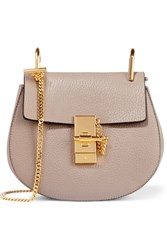 Chloe Drew Mini Textured Leather Shoulder Bag Gray