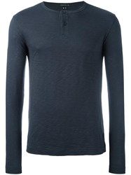 Theory Henley Longsleeved T Shirt Blue