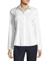 Lafayette 148 New York Cera Button Front Top White