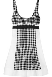 Diane Von Furstenberg Daisy Gingham Jersey Satin Twill And Pique Mini Dress Black