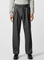 Topman Charcoal Check Wide Leg Pleated Suit Trousers Grey