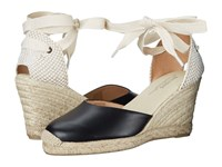 Soludos Tall Wedge Leather Black Women's Wedge Shoes