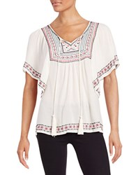 Design Lab Lord And Taylor Embroidered Peasant Blouse Cream