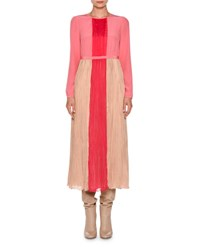 Agnona Long Sleeve Pleated Charmeuse Midi Dress Nude Hibiscus Pink Nude Ibiscus Pink