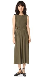 Tibi Pintucked Silk Jumpsuit Loden Green