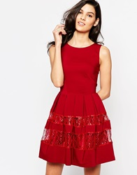 Closet Dress With Metallic Lace Band Red