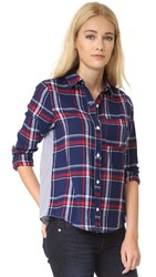 Clu Too Mix Media Plaid Shirt Navy
