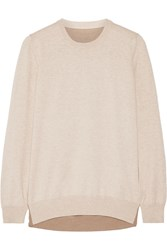 Maison Martin Margiela Leather Trimmed Cotton And Wool Blend Sweater Nude