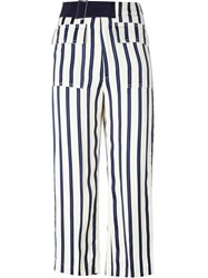 Dondup Cropped Striped Trousers Nude And Neutrals