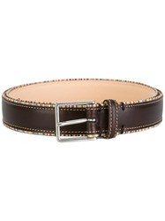 Paul Smith Rainbow Stripe Buckle Belt Brown