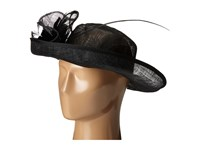 San Diego Hat Company Drs1002 Straw Kettle Brim Dress Derby Hat With Feathered Floral Detail Black Dress Hats