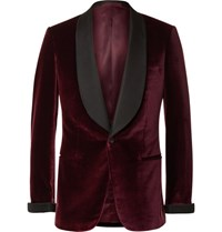 Kingsman Burgundy Slim Fit Faille Trimmed Velvet Tuxedo Jacket Burgundy