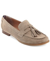 Tommy Hilfiger Sonya Tassel Loafers Women's Shoes Taupe Suede
