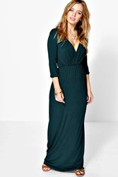Boohoo Zoe Wrap Front 3 4 Sleeve Maxi Dress Bottle Green