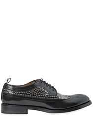 Dsquared Studded Brushed Leather Derby Shoes Black