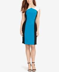American Living Colorblocked Sheath Dress Turqoise Black White