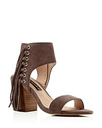 Steven By Steve Madden Fringe Check High Heel Sandals Taupe