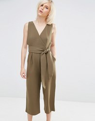 Lost Ink Jumpsuit With Awkward Leg Length Khaki Green