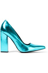 Stella Mccartney Metallic Faux Patent Leather Pumps Blue