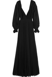Victoria Beckham Pleated Silk Georgette Gown Black