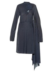 Vetements Open Back Polka Dot Print Dress Navy