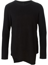 Forme D'expression Asymmetric Hem Crew Neck Sweater Black