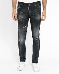 Dsquared Charcoal Cool Guy Destroy Paint Jeans Grey