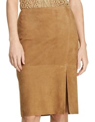 Lauren Ralph Lauren Suede Pencil Skirt Khaki
