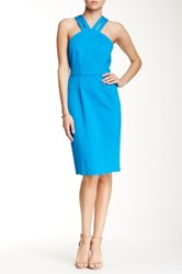 Cynthia Steffe Victoria V Neck Halter Fitted Dress Blue