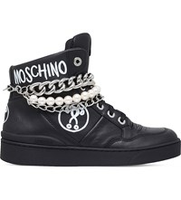Moschino Pearl And Chain Leather Trainers Black