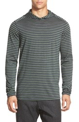 Men's Ibex 'Straightaway' Stripe Merino Wool Pullover Hoodie Billiard Stripe