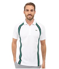 Lacoste Sport Ultra Dry Piqu Tennis Polo W Contrast Collar White Navy Blue Field Green Men's Clothing