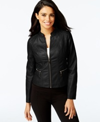 Alfani Petite Faux Leather Motorcycle Jacket Only At Macy's Black