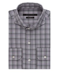 Sean John Plaid Dress Shirt Rock Grey