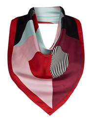 Lulu Guinness 50 50 Lip Silk Square Scarf Multi Coloured Multi Coloured