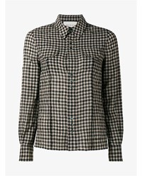 Gucci Checked Shirt With Rear Floral Embroidery Black Beige Orange Green Denim