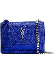 Saint Laurent Small 'Sunset Monogram' Satchel Blue