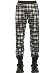 Faith Connexion Plaid Cotton Flannel Pants White Blue