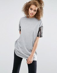 Asos T Shirt With Stripe Sequin Sleeve Grey Marl