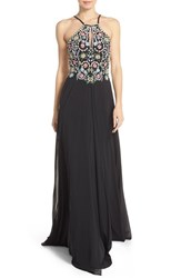 Women's Faviana Embellished Chiffon Fit And Flare Gown Black