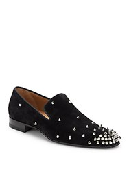 Christian Louboutin Italian Leather Studded Loafers Black Silver