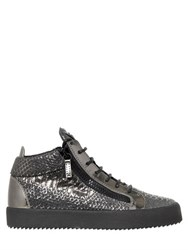 Giuseppe Zanotti Embossed Leather Mid Top Sneakers