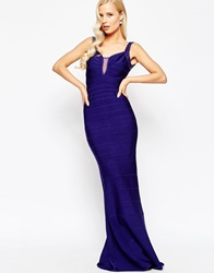 Forever Unique Corine Maxi Dress With Sheer Plunge Navy