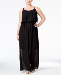 Eyeshadow Plus Size Printed Flounced Maxi Dress Black