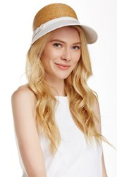 Flora Bella Haley Braided Raffia Canvas Ball Cap White