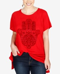 Lucky Brand Trendy Plus Size Hamsa Graphic T Shirt Haute Red