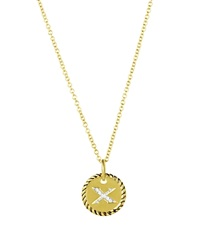 David Yurman Cable Collectibles Initial Pendant With Diamonds In Gold On Chain 16 18 X