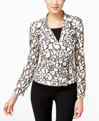 Inc International Concepts Crocheted Moto Jacket Only At Macy's Bright White Deep White